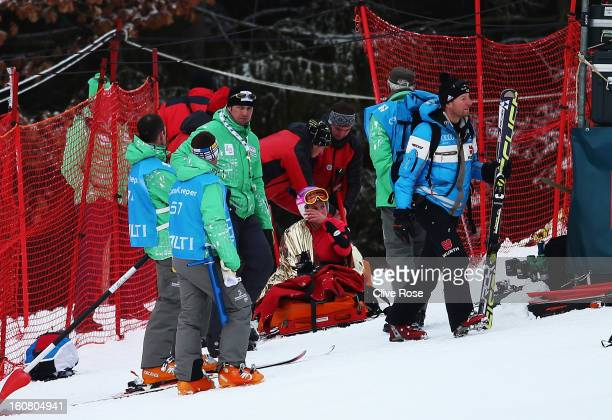 Chemmy Alcott of Great Britain is attended to by medics and marshalls in the Women's Downhill Training during the Alpine FIS Ski World Championships...
