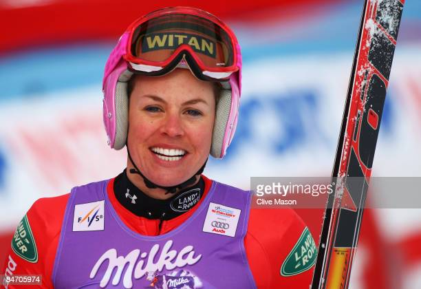 Chemmy Alcott of Great Britain is seen in the finish area after skiing during the Women's Downhill event held on the Face de Solaise course on...