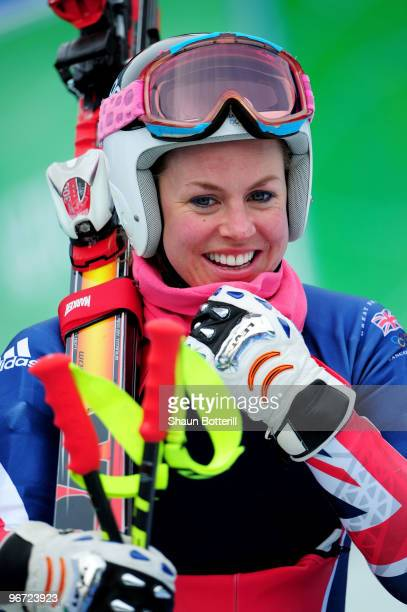 Chemmy Alcott of Great Britain looks on during training for the Alpine skiing Women's Downhill at Whistler Creekside during the Vancouver 2010 Winter...