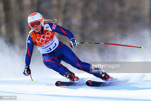 Chemmy Alcott of Great Britain skis during the Alpine Skiing Women's Downhill on day 5 of the Sochi 2014 Winter Olympics at Rosa Khutor Alpine Center...