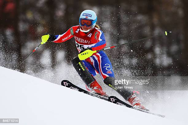 Chemmy Alcott of Great Britain skis during the slalom segment of the Women's Super Combined held on the Face de Solaise course on February 6 2009 in...