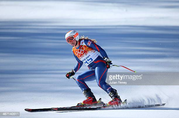 Chemmy Alcott of Great Britain skis during training for the Alpine Skiing Women's Downhill ahead of the Sochi 2014 Winter Olympics at Rosa Khutor...