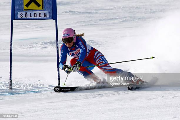 Chemmy Alcott of Great Britain takes 10th place during the Alpine FIS Ski World Cup Women's Giant Slalom on October 25 2008 in Soelden Austria