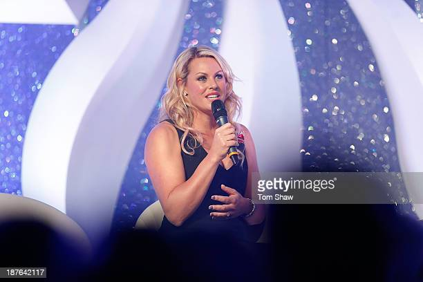 Chemmy Allcott of Great Britan talks on stage during the British Olympic Ball at The Dorchester on October 30 2013 in London England