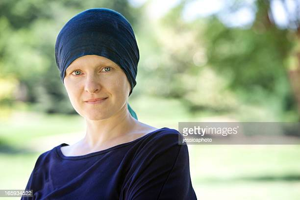 Chemo Woman Happy in the Park Close Up