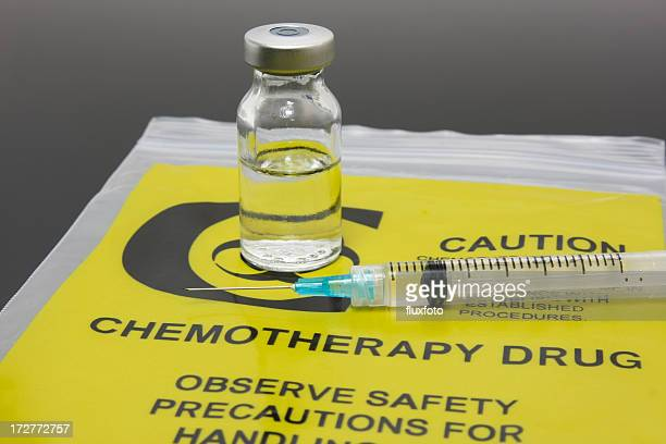 Chemotherapy drug vial and syringe set on plastic packaging