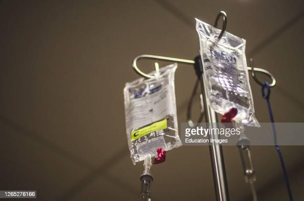 Chemotherapy Drugs on Hospital IV Pole.