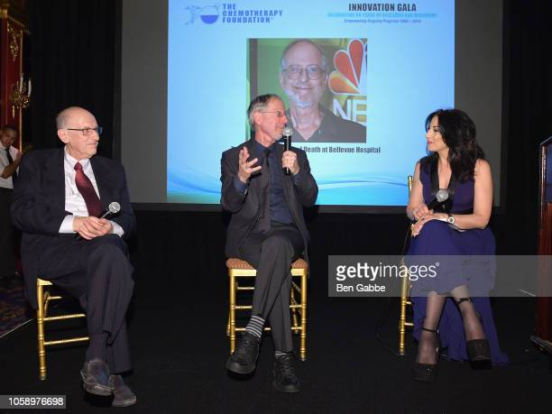 Chemotherapy Foundation Chair Director Dr Franco Muggia Dr Eric Manheimer and voice over artist Valerie Smaldone speak onstage as Chemotherapy...