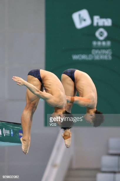 Chen Aisen and Yang Hao of China compete in the Men's 10m Synchro Platform Final during day one of the FINA/CNSG Diving World Series 2018 Beijing...