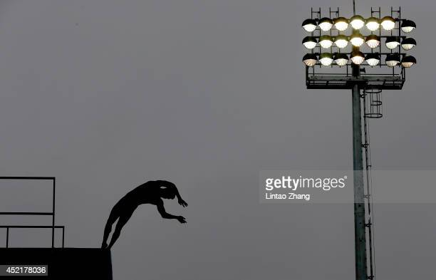 Chen Aisen of China competes in the team event of the 19th FINA Diving World Cup at the Oriental Sports Center on July 15 2014 in Shanghai China