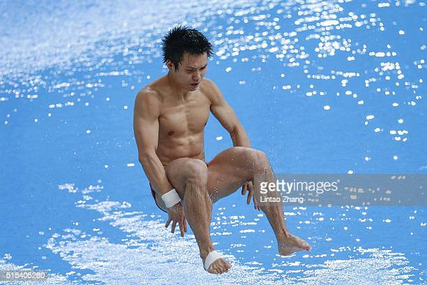 Chen Aisen of China warm up before compete in the Men's 10m Synchro Final during day three of the FINA/NVC Diving World Series 2016 Beijing Station...