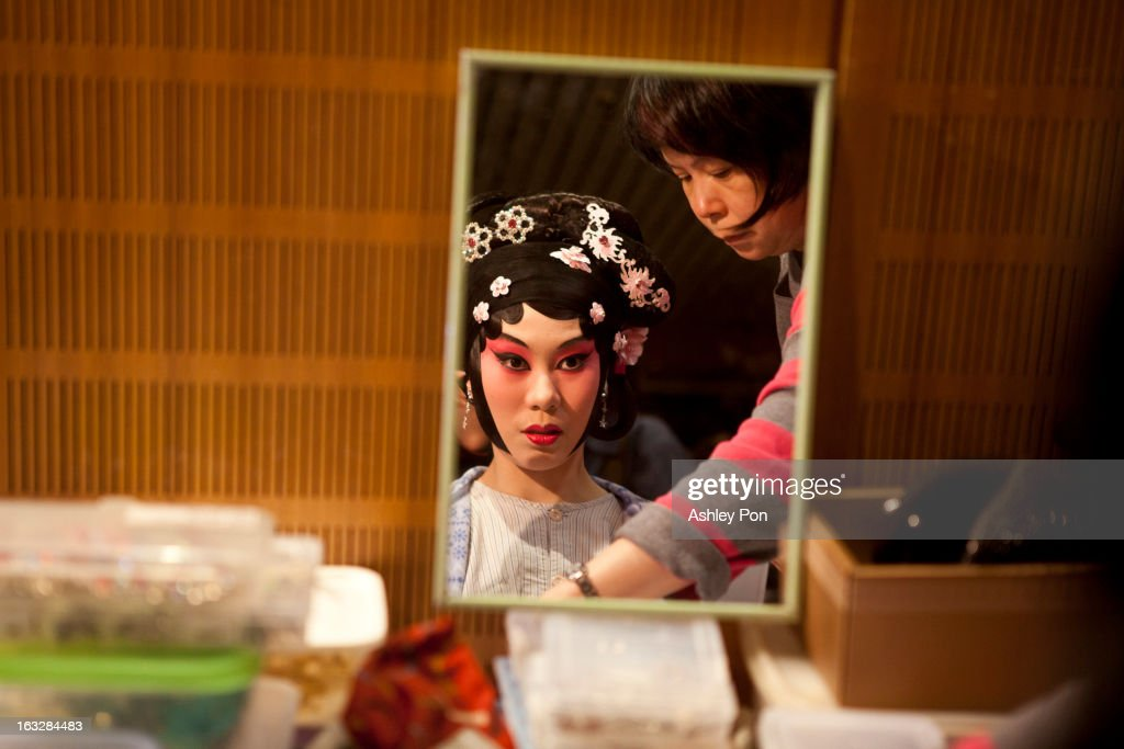 Chen Chang-yen of the Taiwan Guoguang Opera Company prepares to perform scenes from the 'Flowing Sleeves and Rouge' as part of the Taiwan International Festival of the Arts at the National Theatre on March 7, 2013 in Taipei, Taiwan.