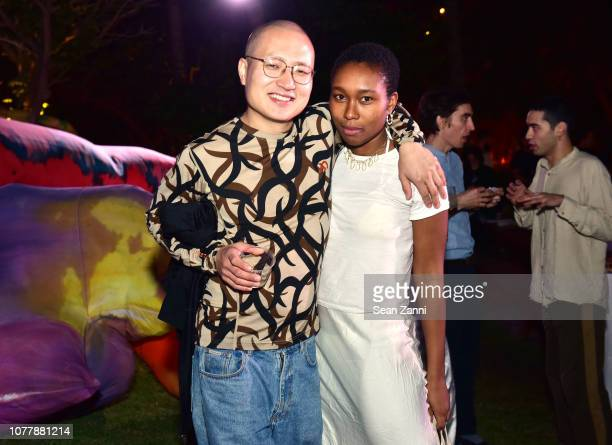 Chen Chen and Camille Okhio attend Artsy Prospect NY Present The Bellyflop Collection By Misha Kahn at Miami Beach EDITION on December 05 2018 in...