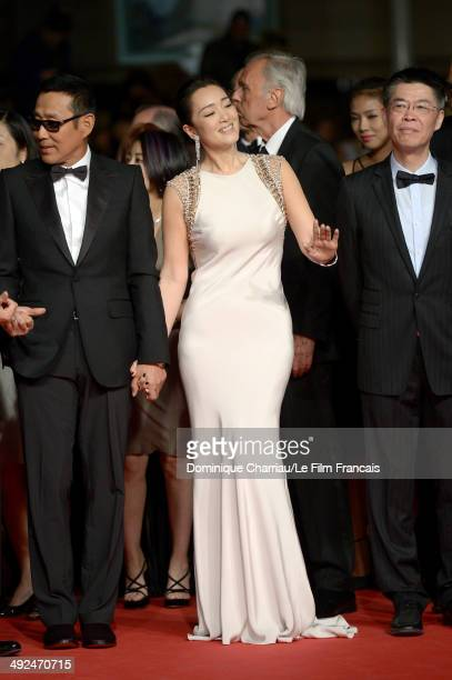 Chen Daoming Li Gong and producer Zhao Zhang attend the Coming Home Premiere during the 67th Annual Cannes Film Festival on May 20 2014 in Cannes...