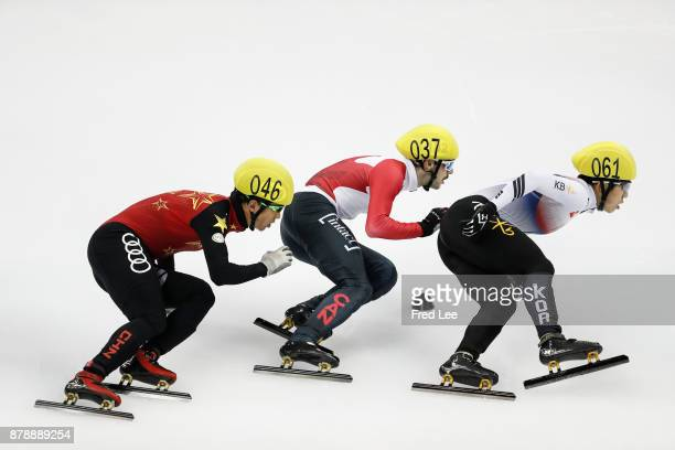 Chen Dequan of China Dubois Steven of Canada First place winner Jiwon Park of Korea compete in the Men's 1500m final during the 2017 Shanghai Trophy...