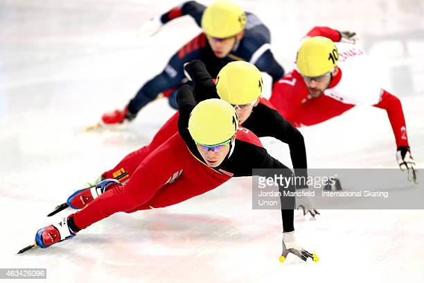 Chen Dequan of China leads the pack into the corner during the Men's 1500m semifinals on day one of the ISU World Cup Short Track Speed Skating on...