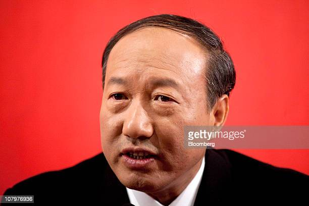 Chen Feng chairman of HNA Group Co Ltd speaks at a media briefing in Beijing China on Monday Jan 10 2011 Grand China Air will likely list in Hong...