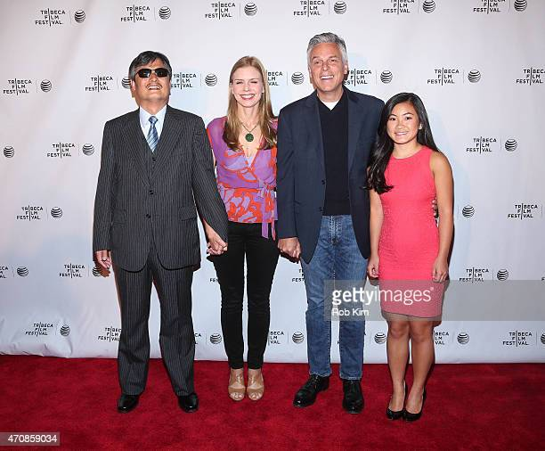 Chen Guangcheng director Vanessa Hope John Huntsman and Gracie Huntsman attend All Eyes And Ears Premiere during the 2015 Tribeca Film Festival at...