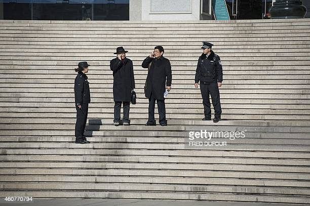 Chen Guangwu and Li Shuting lawyers of the family of Nie Shubin executed by firing squad in 1995 at the age of 20 for rape and murder leave the court...