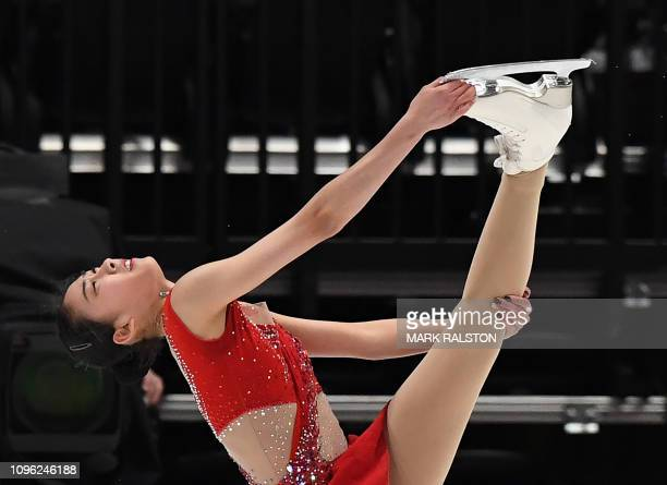 Chen Hongyi of China competes in the Ladies Free Skating competition during the ISU Four Continents Figure Skating Championship at the Honda Center...