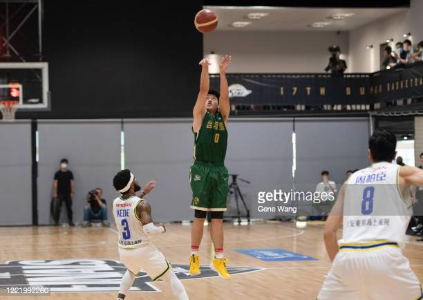Chen Huang of Taiwan Beer attempts 3 point shot during the SBL Finals Game Six between Taiwan Beer and Yulon Luxgen Dinos at Hao Yu Trainning Center...