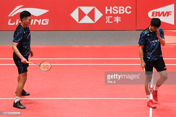 Chen Hung Ling and Wang ChiLin of Chinese Taipei react in against Li Junhui and Liu Yuchen of China during their men's doubles semifinals match on...