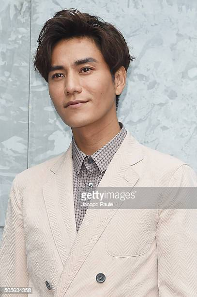 Chen Kun arrives at the Giorgio Armani show during Milan Men's Fashion Week Fall/Winter 2016/17 on January 19 2016 in Milan Italy