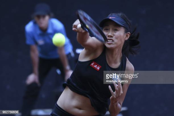 Chen Liang and Shuai Zhang of China in action against Xenia Knoll of Switzerland and Anna Smith of United Kingdom during the TEB BNP Paribas Istanbul...