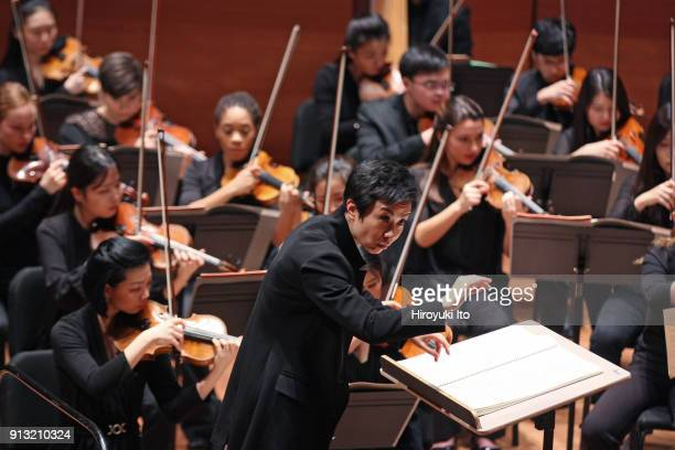 Chen Lin conducts the Juilliard Orchestra in Chen Qigang's 'Luan Tan' at Alice Tully Hall on Friday night January 26 2018 The concert was part of the...
