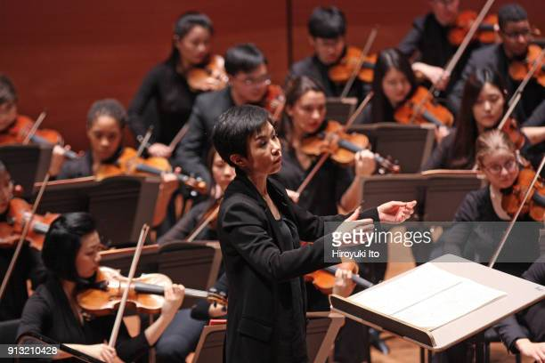 Chen Lin conducts the Juilliard Orchestra in Zhu JianEr's 'Symphony No 5' at Alice Tully Hall on Friday night January 26 2018 The concert was part of...