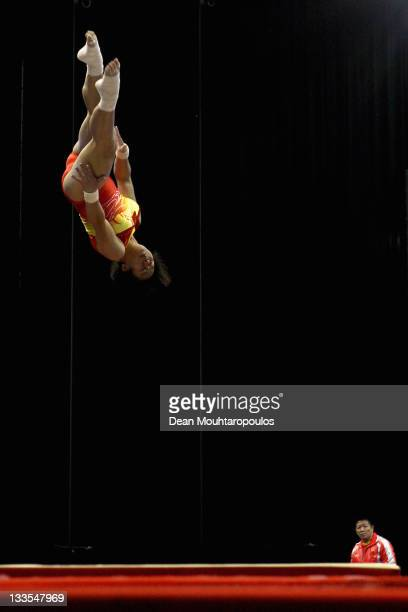 Chen Lingxi of China competes in the Tumbling Women Team final during the 28th Trampoline and Tumbling World Championships at National Indoor Arena...