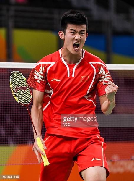 Chen Long of China celebrates in a match against Wan Ho Son of Korea during the Men's Singles Quarterfinal Badminton match on Day 12 of the Rio 2016...