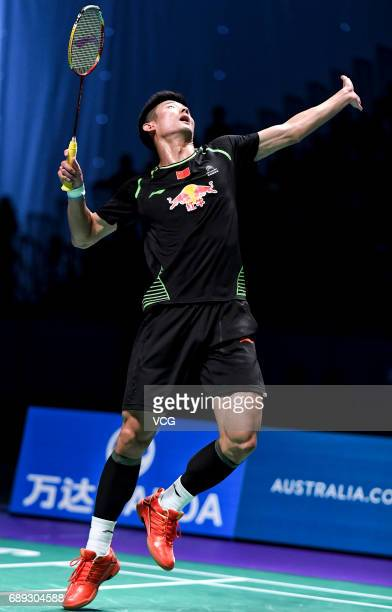 Chen Long of China competes in the final match against Jeon Hyeok Jin of South Korea during the Sudirman Cup at Carrara Sports & Leisure Centre on...