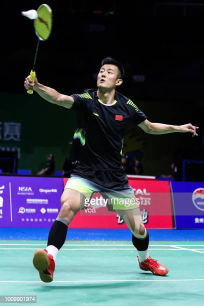 Chen Long of China competes in the Men's Singles first round match against Hsu Jen Hao of Chinese Taipei on day one of TOTAL BWF World Championships...