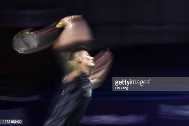 Chen Long of China competes in the Men's Singles first round match against Lee Zii Jia of Malaysia on day one of the China Open at Olympic Sports...