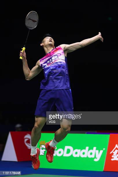 Chen Long of China competes in the Men's Singles quarter-final match against Viktor Axelsen of Denmark on day five of the Total BWF Sudirman Cup 2019...