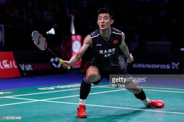 Chen Long of China competes in the Men's Singles semi finals match against Viktor Axelsen of Denmark on day five of the Denmark Open at Odense Sports...