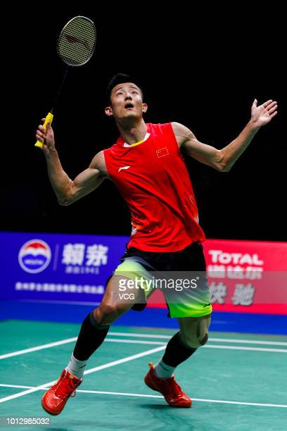 Chen Long of China competes in the Men's Singles semi-final match against Shi Yuqi of China on day six of TOTAL BWF World Championships 2018 at...