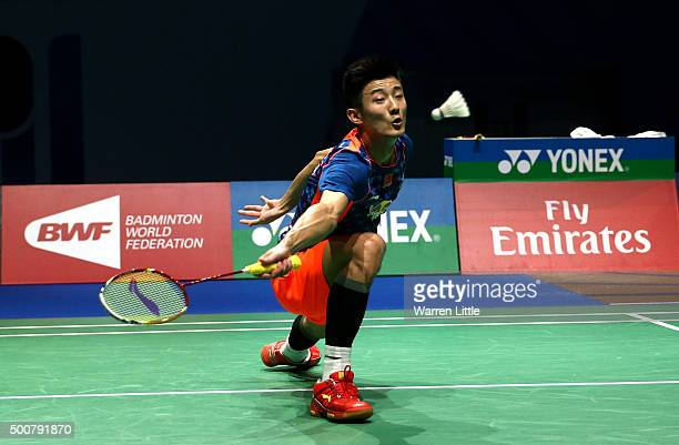 Chen Long of China in action against Yun Hu of China in the Men's Sigles match during day two of the BWF Dubai World Superseries 2015 Finals at the...
