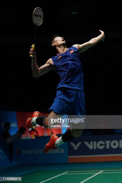 Chen Long of China in action on day four of the Badminton Malaysia Open at Axiata Arena on April 05, 2019 in Kuala Lumpur, Malaysia.