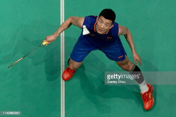 Chen Long of China in action on day six of the Badminton Malaysia Open at Axiata Arena on April 07 2019 in Kuala Lumpur Malaysia