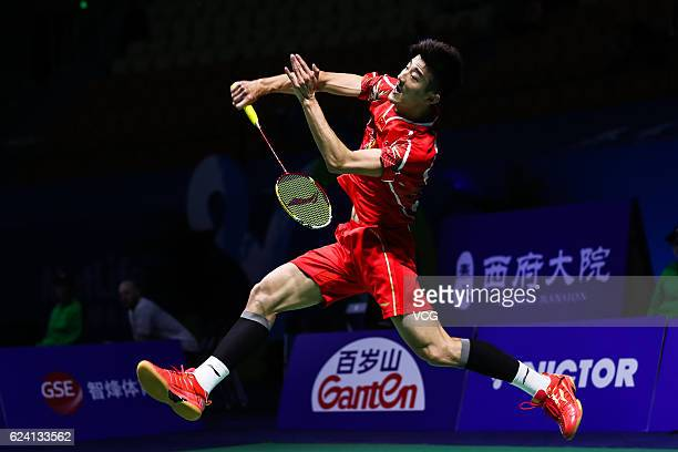 Chen Long of China returns a shot against Ajay Jayaram of India during men's singles quarter-final match on day four of BWF Thaihot China Open 2016...