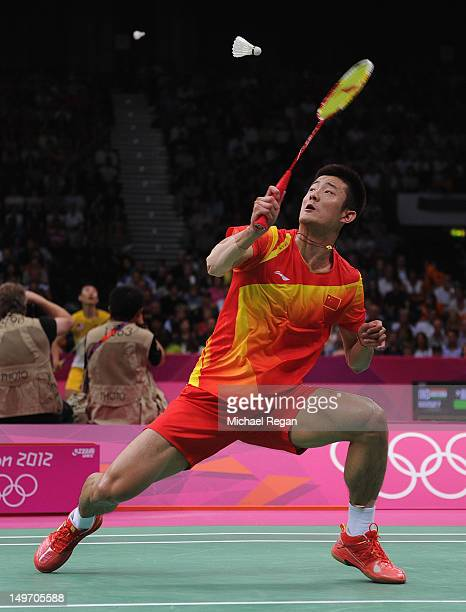 Chen Long of China returns against Peter Gade of Denmark in their Men's Singles Badminton quarter final on day 6 of the London 2012 Olympic Games at...