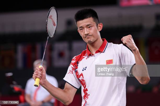 Chen Long of Team China celebrates as he wins against Anthony Sinisuka Ginting of Team Indonesia during a Men's Singles Semi-final match on day nine...