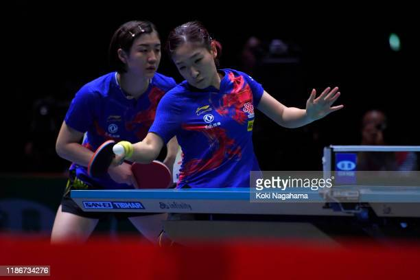 Chen Meng and Liu Shiwen of China compete against Kasumi Ishikawa and Miu Hirano of Japan during match 1 of the Women's team final on day five of the...