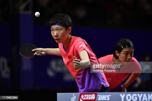 Chen Meng and Wang Manyu of China compete against Siti Aminah and Novita Widarahman of Indonesia during day five of the ITTF-Asian Table Tennis...