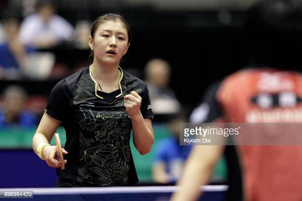 Chen Meng of China celebrates a point in the Women's Singles quarter final match against Miu Hirano of Japan during day four of the 2017 ITTF World...