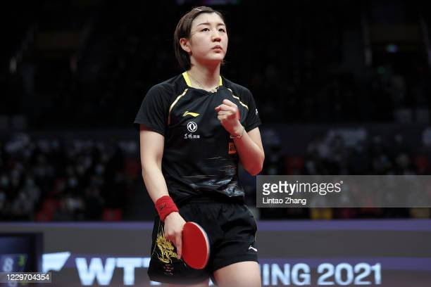 Chen Meng of China celebrates her win against Sun Yingsha of China in the Women's Singles - Semifinals during day three of 2020 ITTF Finals at...