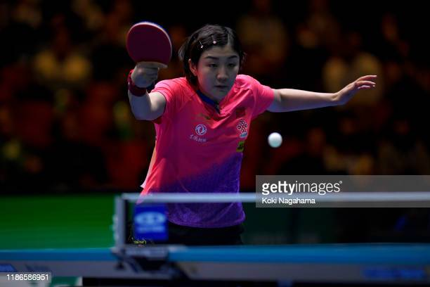 Chen Meng of China competes against Cheng I-Ching of Chinese Taipei during Women's Teams singles - Semifinals - Match 1 on day four of the ITTF Team...