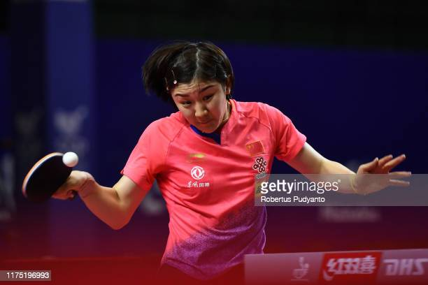Chen Meng of China competes against Lin Ye of Singapore during day three of the ITTF-Asian Table Tennis Championships at Among Raga Stadium on...